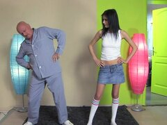Sexy skinny chick fucked by old dude