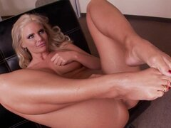 Blonde pornstar gets her toes sucked and her cunt banged