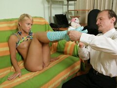 Hot young blonde gets to suck her teacher's cock