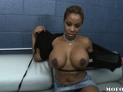 Slutty tattooed ebony MILF likes to suck on juicy white meat