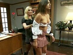 Blonde Bitch Of A Boss Takes Control Of Hot Brunette Secretary