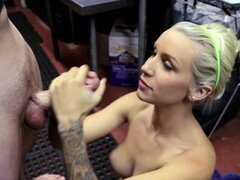 Alluring Stevie Shae tugs on this throbbing skin flute