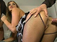 Two Cocks Pleasing a Sexy Maid In Lingerie and Fishnet Stockings