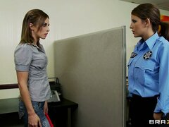 Evil police officer wants to have a peek at the detained perpetrator