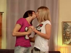 Lesbian teens Reilly and Ioana give each other a hand