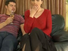 Hot guy makes a raunchy milf drink a little before stuffing her ripe pussy