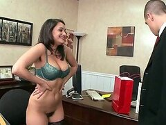 Curvy Brunette Secretary Charley Chase Dressed For Sex