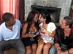 Jada Fire and Ricki White have stunning interracial foursome sex