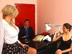 Hot Secretaries Having A Threesome with Their Boss In The Office