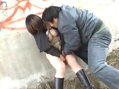 Hardcore Japanese Couple Banging Under Bridge