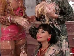 Gina, Candy, and Kate are in for one of the messiest experiences of their lives! They're all looking fine as hell in their fancy satin outfits, and they're in a super nice house, but they've all got a serious wet and messy fetish and plenty of sloppy good