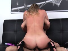 Mandy has her tits and ass sensuously shaking as she rides that dick with passion