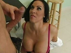 Busty brunette with big oiled ass getting licked...