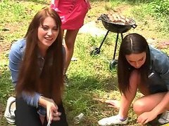 Outdoor Group Sex With Brunettes