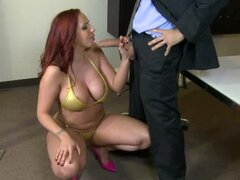 Chubby redhead fucked at work