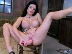 Stunning Aletta Ocean toys her hot pussy at the farm