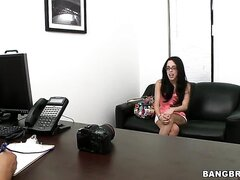Lexa Gottie is young brunette with beautiful figure and pretty, sexy face! These glasses make her even hotter! She came for a casting, need to say that she can become real porn star!