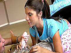 Two teen girls with pigtails give a blowjob for the first time