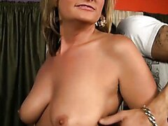 Blonde mom and her daughter fuck young guy. Hot video