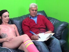 Kiarra Lynne is introduced to an older chap for hardcore session