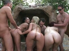 Poolside frenzy orgy, three chubby sluts gets qualified drilling.