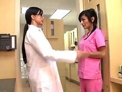 Brunette Doctor and Nurse Sharing a Patient's Big Cock in CFNM Threesome