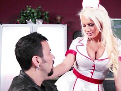 Fit blond waitress Jacky Joy has her pink pussy pounded on shift