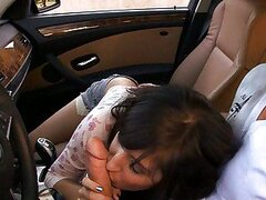 April ONeil sucking cock in car then takes it up her tight snatch