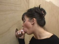 Sexy brunette hottie brit down for nasty glory hole session