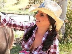 Busty Cowgirl Brandy Aniston Fucking a Big Cock with her Boots On