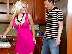 Hot Blonde Kitchen Blowjob...