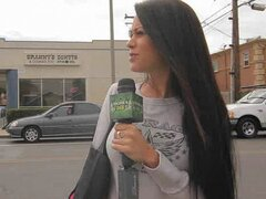 A randy brunette chick invites random people into her liquor store to get busy