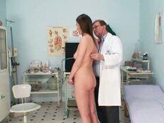 Gyno doctor examines  Tereza's young pussy