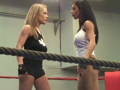 Jessica Moore and Kyra Black fight on a ring and practise face sitting