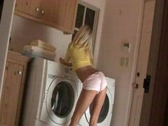 Jana Jordan having fun in laundry