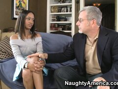 Ebony Riyanna Skie chats with an old white guy and nibbles his rod