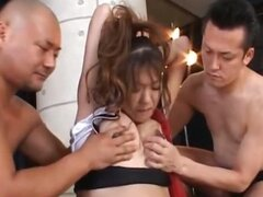 Roped asian pregnant slut eating shaft in weird 3some