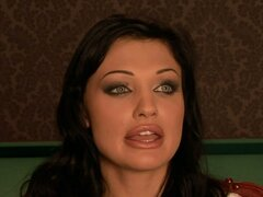 Divine dark haired porn star Aletta Ocean pleases her BF with blowjob by the pool