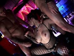 Punk babes using a brutal fucking machine in the course of a group bang