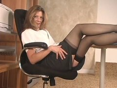 Gorgeous mature blonde babe shows off her tits and plays with her pussy at work