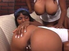 Group of black lesbos fuck with strap-on