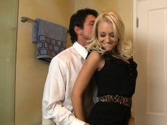 Sexy blonde Briana Blair seduces her man in the bathroom and blows him