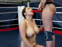 Sporty women wrestle and strapon fuck