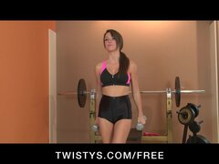 Cute brunette takes a workout break to sit on her new vibrator