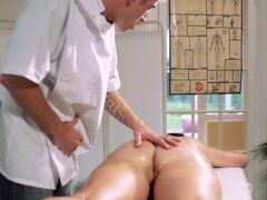 Probing a hotties pussy on a massage