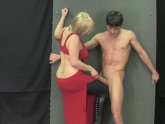 Chubby blonde is beating this hard dick