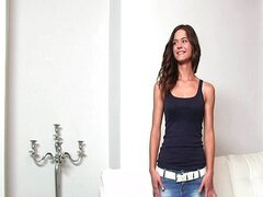 Shy brunette plays hard to get
