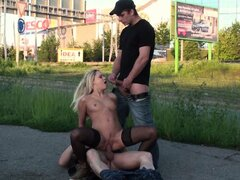 Pretty blonde street PUBLIC group SEX gangbang orgy Part 3