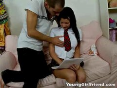 Long haired brunette young girlfriend Chantal playing the dirty schoolgirl and getting pussy fingered upskirt