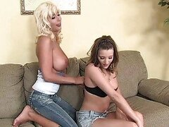 Blonde lesbian milf and young chick sweet talking and undressing
